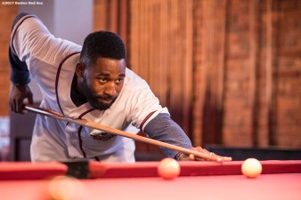 August 17, 2017, Boston, MA: Boston Red Sox center fielder Jackie Bradley Jr. plays pool during the Mookie's Big League Bowl for Pitching In For Kids event at Lucky Strike Lanes in Boston, Massachusetts Thursday, August 17, 2017. (Photo by Billie Weiss/Boston Red Sox)