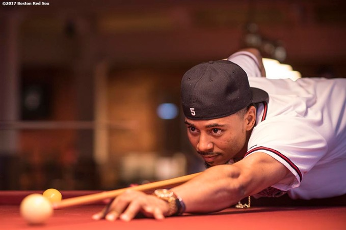 August 17, 2017, Boston, MA: Boston Red Sox right fielder Mookie Betts plays pool during the Mookie's Big League Bowl for Pitching In For Kids event at Lucky Strike Lanes in Boston, Massachusetts Thursday, August 17, 2017. (Photo by Billie Weiss/Boston Red Sox)