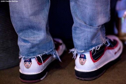 August 17, 2017, Boston, MA: The bowling shoes of Boston Red Sox right fielder Mookie Bettsare shown during the Mookie's Big League Bowl for Pitching In For Kids event at Lucky Strike Lanes in Boston, Massachusetts Thursday, August 17, 2017. (Photo by Billie Weiss/Boston Red Sox)