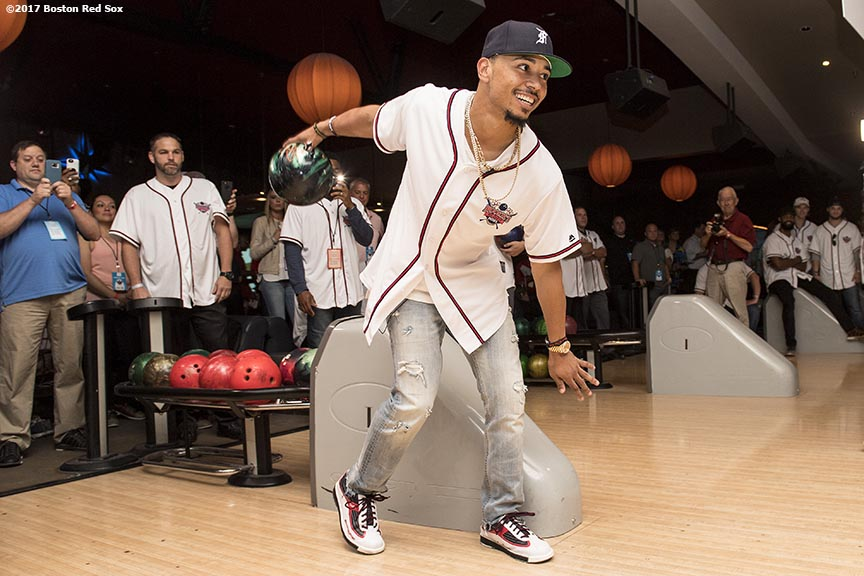August 17, 2017, Boston, MA: Boston Red Sox right fielder Mookie Betts bowls during the Mookie's Big League Bowl for Pitching In For Kids event at Lucky Strike Lanes in Boston, Massachusetts Thursday, August 17, 2017. (Photo by Billie Weiss/Boston Red Sox)