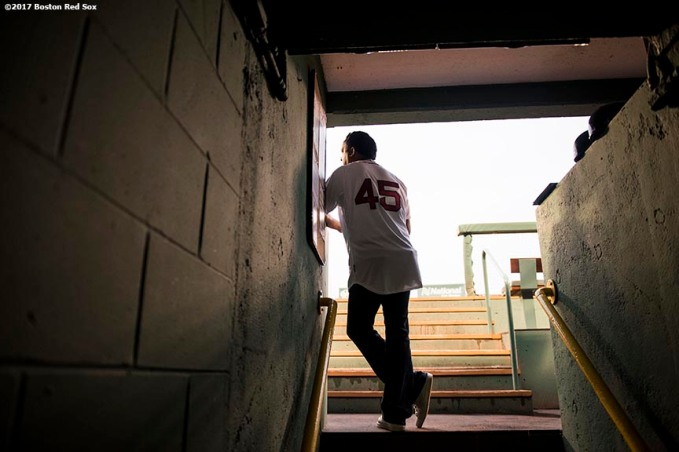 BOSTON, MA - AUGUST 18: Former pitcher Pedro Martinez of the Boston Red Sox looks on from the dugout before a game against the New York Yankees on August 18, 2017 at Fenway Park in Boston, Massachusetts. (Photo by Billie Weiss/Boston Red Sox/Getty Images) *** Local Caption *** Pedro Martinez