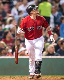BOSTON, MA - AUGUST 18: Christian Vazquez #7 of the Boston Red Sox hits a solo home run during the fifth inning of a game against the New York Yankees on August 18, 2017 at Fenway Park in Boston, Massachusetts. (Photo by Billie Weiss/Boston Red Sox/Getty Images) *** Local Caption *** Christian Vazquez