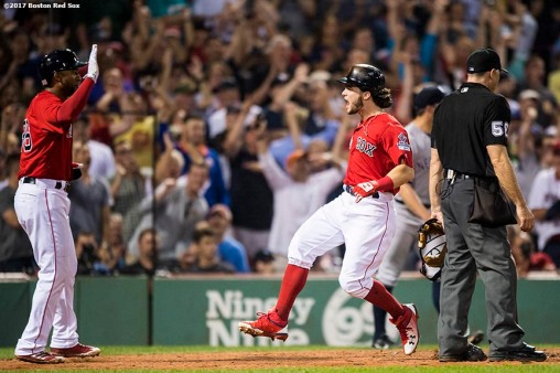 BOSTON, MA - AUGUST 18: Andrew Benintendi #16 of the Boston Red Sox reacts with Eduardo Nunez #36 as he scores during the seventh inning of a game against the New York Yankees on August 18, 2017 at Fenway Park in Boston, Massachusetts. (Photo by Billie Weiss/Boston Red Sox/Getty Images) *** Local Caption *** Andrew Benintendi; Eduardo Nunez
