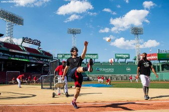 BOSTON, MA - AUGUST 19: Andrew Benintendi #16 of the Boston Red Sox kicks a baseball before a game against the New York Yankees on August 19, 2017 at Fenway Park in Boston, Massachusetts. (Photo by Billie Weiss/Boston Red Sox/Getty Images) *** Local Caption *** Andrew Benintendi