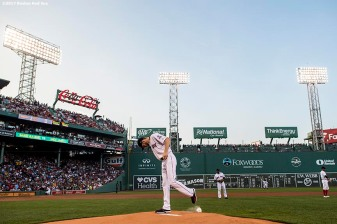 BOSTON, MA - AUGUST 19: Chris Sale #41 of the Boston Red Sox warms up before the first inning of a game against the New York Yankees on August 19, 2017 at Fenway Park in Boston, Massachusetts. (Photo by Billie Weiss/Boston Red Sox/Getty Images) *** Local Caption *** Chris Sale