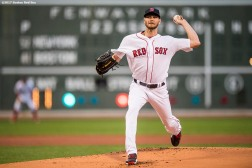 BOSTON, MA - AUGUST 19: Chris Sale #41 of the Boston Red Sox delivers during the first inning of a game against the New York Yankees on August 19, 2017 at Fenway Park in Boston, Massachusetts. (Photo by Billie Weiss/Boston Red Sox/Getty Images) *** Local Caption *** Chris Sale