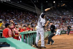 BOSTON, MA - AUGUST 19: Chase Headley #12 of the New York Yankees catches a fly ball during the sixth inning of a game against the Boston Red Sox on August 19, 2017 at Fenway Park in Boston, Massachusetts. (Photo by Billie Weiss/Boston Red Sox/Getty Images) *** Local Caption *** Chase Headley