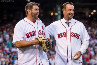 BOSTON, MA - AUGUST 19: The Boston Red Sox Foundation celebrates its fifteenth anniversary in a special pre-game ceremony before a game between the Boston Red Sox and the New York Yankees on August 19, 2017 at Fenway Park in Boston, Massachusetts. (Photo by Billie Weiss/Boston Red Sox/Getty Images) *** Local Caption ***