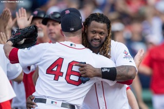 BOSTON, MA - AUGUST 20: Hanley Ramirez #13 hugs Craig Kimbrel #46 of the Boston Red Sox after a game against the New York Yankees on August 20, 2017 at Fenway Park in Boston, Massachusetts. (Photo by Billie Weiss/Boston Red Sox/Getty Images) *** Local Caption *** Craig Kimbrel; Hanley Ramirez