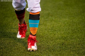 BOSTON, MA - AUGUST 25: The cleats of Andrew Benintendi #16 of the Boston Red Sox are shown before a game against the Baltimore Orioles on August 25, 2017 at Fenway Park in Boston, Massachusetts. (Photo by Billie Weiss/Boston Red Sox/Getty Images) *** Local Caption *** Andrew Benintendi
