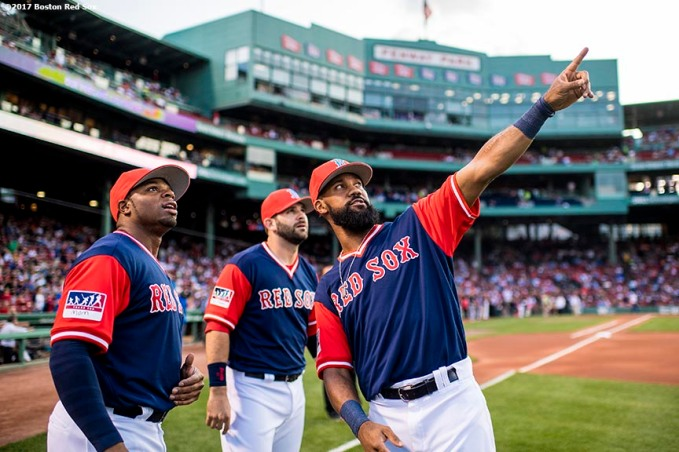 BOSTON, MA - AUGUST 25: Rajai Davis #25, Mitch Moreland #18, and Chris Young #30 of the Boston Red Sox talk before a game against the Baltimore Orioles on August 25, 2017 at Fenway Park in Boston, Massachusetts. (Photo by Billie Weiss/Boston Red Sox/Getty Images) *** Local Caption *** Rajai Davis; Chris Young; Mitch Moreland