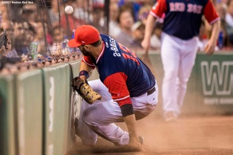 BOSTON, MA - AUGUST 25: Mitch Moreland #18 of the Boston Red Sox crashes into the wall as he attempts to catch a foul ball during the second inning of a game against the Baltimore Orioles on August 25, 2017 at Fenway Park in Boston, Massachusetts. (Photo by Billie Weiss/Boston Red Sox/Getty Images) *** Local Caption *** Mitch Moreland