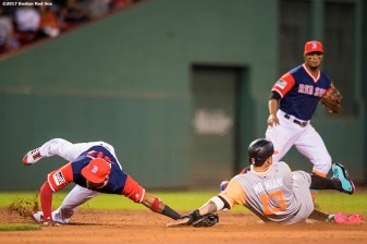 BOSTON, MA - AUGUST 25: Eduardo Nunez #36 of the Boston Red Sox is injured as Manny Machado #13 of the Baltimore Orioles slides into second base during the second inning of a game on August 25, 2017 at Fenway Park in Boston, Massachusetts. (Photo by Billie Weiss/Boston Red Sox/Getty Images) *** Local Caption *** Eduardo Nunez; Manny Machado