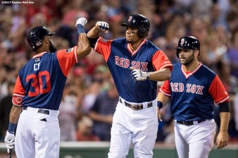 BOSTON, MA - AUGUST 25: of the Boston Red Sox during the inning of a game against the Baltimore Orioles on August 25, 2017 at Fenway Park in Boston, Massachusetts. (Photo by Billie Weiss/Boston Red Sox/Getty Images) *** Local Caption ***