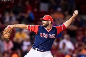 BOSTON, MA - AUGUST 25: Mitch Moreland #18 of the Boston Red Sox pitches during the ninth inning of a game against the Baltimore Orioles on August 25, 2017 at Fenway Park in Boston, Massachusetts. (Photo by Billie Weiss/Boston Red Sox/Getty Images) *** Local Caption *** Mitch Moreland