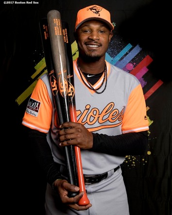 August 25, 2017, Boston, MA: Baltimore Orioles center fielder Adam Jones poses for a portrait with the MLB Player's Weekend jersey before a game against the Boston Red Sox at Fenway Park in Boston, Massachusetts Friday, August 25, 2017. (Photo by Billie Weiss/MLB)