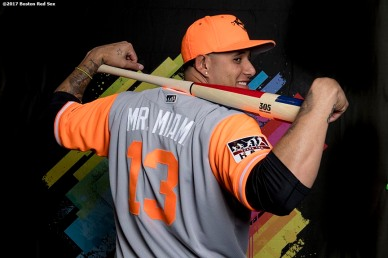 August 25, 2017, Boston, MA: Baltimore Orioles third baseman Manny Machado poses for a portrait with the MLB Player's Weekend jersey before a game against the Boston Red Sox at Fenway Park in Boston, Massachusetts Friday, August 25, 2017. (Photo by Billie Weiss/MLB)