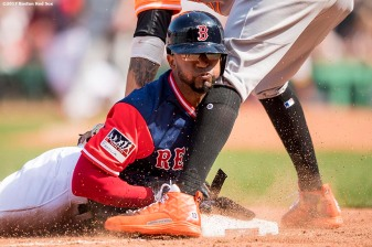 BOSTON, MA - AUGUST 27: Eduardo Nunez #36 of the Boston Red Sox dives into third base during the fifth inning of a game against the Baltimore Orioles on August 27, 2017 at Fenway Park in Boston, Massachusetts. (Photo by Billie Weiss/Boston Red Sox/Getty Images) *** Local Caption *** Eduardo Nunez