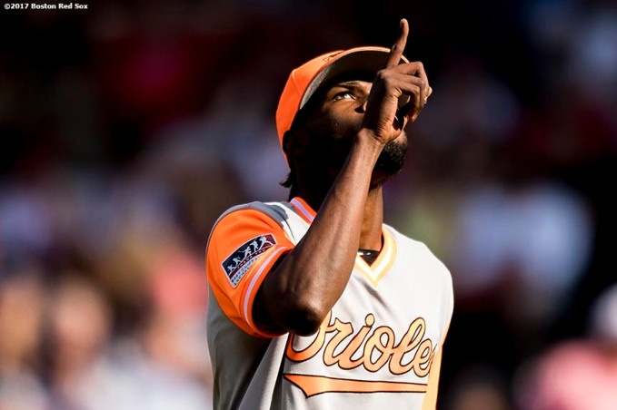 BOSTON, MA - AUGUST 27: Miguel Castro #50 of the Baltimore Orioles reacts during the seventh inning of a game against the Boston Red Sox on August 27, 2017 at Fenway Park in Boston, Massachusetts. (Photo by Billie Weiss/Boston Red Sox/Getty Images) *** Local Caption *** Miguel Castro