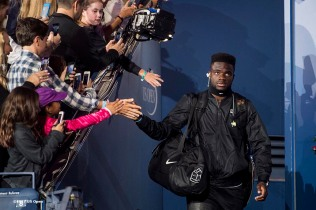 August 29, 2017, New York City, NY: Frances Tiafoe is introduced before a match against Roger Federer during the 2017 US Open Tennis Championships at the Billie Jean King National Tennis Center in New York, New York Tuesday, August 29, 2017. (Photo by Billie Weiss/US Open Tennis Championships)