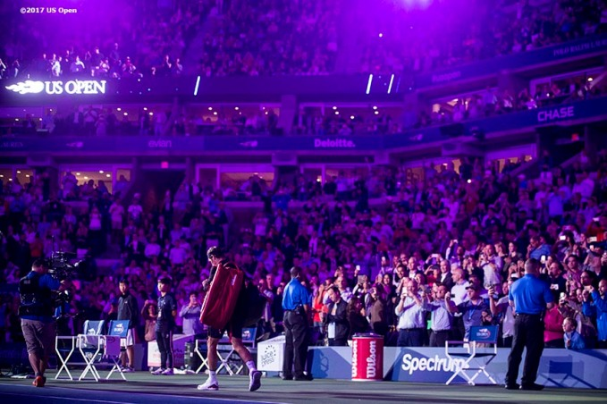 August 29, 2017, New York City, NY: Roger Federer is introduced before a match against Frances Tiafoe during the 2017 US Open Tennis Championships at the Billie Jean King National Tennis Center in New York, New York Tuesday, August 29, 2017. (Photo by Billie Weiss/US Open Tennis Championships)