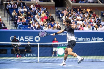 August 29, 2017, New York City, NY: Roger Federer in action during a match against Frances Tiafoe during the 2017 US Open Tennis Championships at the Billie Jean King National Tennis Center in New York, New York Tuesday, August 29, 2017. (Photo by Billie Weiss/US Open Tennis Championships)