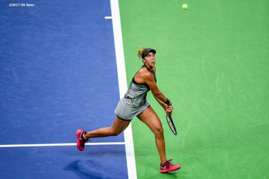 August 29, 2017, New York City, NY: Madison Keys in action during a match against Elise Mertens during the 2017 US Open Tennis Championships at the Billie Jean King National Tennis Center in New York, New York Tuesday, August 29, 2017. (Photo by Billie Weiss/US Open Tennis Championships)