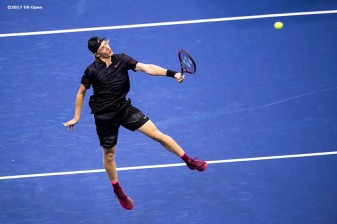 August 30, 2017, New York City, NY: Denis Shapovalov in action during a match against Jo-Wilfried Tsonga during the 2017 US Open Tennis Championships at the Billie Jean King National Tennis Center in New York, New York Wednesday, August 30, 2017. (Photo by Billie Weiss/US Open Tennis Championships)