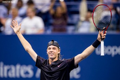August 30, 2017, New York City, NY: Denis Shapovalov reacts after defeating Jo-Wilfried Tsonga during the 2017 US Open Tennis Championships at the Billie Jean King National Tennis Center in New York, New York Wednesday, August 30, 2017. (Photo by Billie Weiss/US Open Tennis Championships)