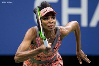 August 30, 2017, New York City, NY: Venus Williams in action during a match against Oceane Dodin during the 2017 US Open Tennis Championships at the Billie Jean King National Tennis Center in New York, New York Wednesday, August 30, 2017. (Photo by Billie Weiss/US Open Tennis Championships)