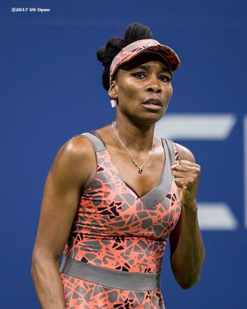 August 30, 2017, New York City, NY: Venus Williams reacts during a match against Oceane Dodin during the 2017 US Open Tennis Championships at the Billie Jean King National Tennis Center in New York, New York Wednesday, August 30, 2017. (Photo by Billie Weiss/US Open Tennis Championships)