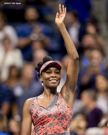 August 30, 2017, New York City, NY: Venus Williams reacts after defeating Oceane Dodin during the 2017 US Open Tennis Championships at the Billie Jean King National Tennis Center in New York, New York Wednesday, August 30, 2017. (Photo by Billie Weiss/US Open Tennis Championships)