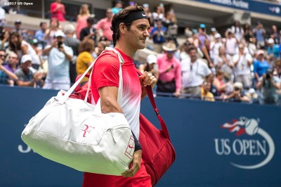August 31, 2017, New York City, NY: Roger Federer walks onto the court before a match against Mikhail Youzhny during the 2017 US Open Tennis Championships at the Billie Jean King National Tennis Center in New York, New York Thursday, August 31, 2017. (Photo by Billie Weiss/US Open Tennis Championships)