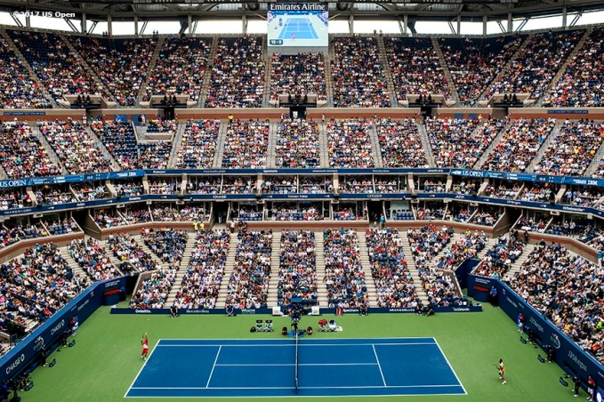 August 31, 2017, New York City, NY: Roger Federer and Mikhail Youzhny in action during the 2017 US Open Tennis Championships at the Billie Jean King National Tennis Center in New York, New York Thursday, August 31, 2017. (Photo by Billie Weiss/US Open Tennis Championships)