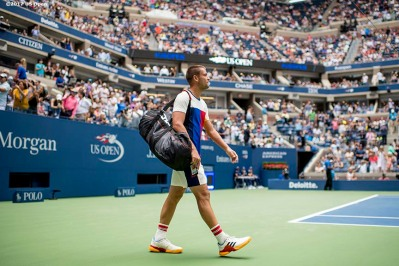 August 31, 2017, New York City, NY: Mikhail Youzhny walks onto the court before a match against Roger Federer during the 2017 US Open Tennis Championships at the Billie Jean King National Tennis Center in New York, New York Thursday, August 31, 2017. (Photo by Billie Weiss/US Open Tennis Championships)