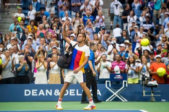 August 31, 2017, New York City, NY: Mikhail Youzhny walks off the court after losing a match against Roger Federer during the 2017 US Open Tennis Championships at the Billie Jean King National Tennis Center in New York, New York Thursday, August 31, 2017. (Photo by Billie Weiss/US Open Tennis Championships)