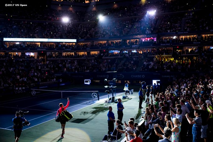 August 31, 2017, New York City, NY: Rafael Nadal is introduced to the crowd on Arthur Ashe Stadium before a match against Taro Daniel during the 2017 US Open Tennis Championships at the Billie Jean King National Tennis Center in New York, New York Thursday, August 31, 2017. (Photo by Billie Weiss/US Open Tennis Championships)