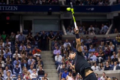 August 31, 2017, New York City, NY: Rafael Nadal in action during a match against Taro Daniel during the 2017 US Open Tennis Championships at the Billie Jean King National Tennis Center in New York, New York Thursday, August 31, 2017. (Photo by Billie Weiss/US Open Tennis Championships)