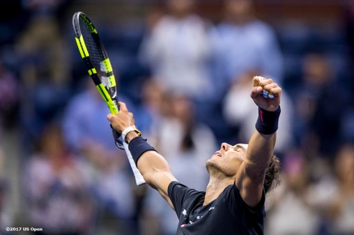 August 31, 2017, New York City, NY: Rafael Nadal reacts after defeating Taro Daniel during the 2017 US Open Tennis Championships at the Billie Jean King National Tennis Center in New York, New York Thursday, August 31, 2017. (Photo by Billie Weiss/US Open Tennis Championships)