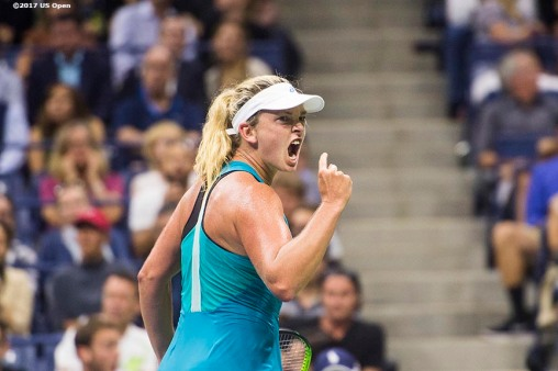 August 31, 2017, New York City, NY: Coco Vandeweghe in action during a match against Ons Jabeur during the 2017 US Open Tennis Championships at the Billie Jean King National Tennis Center in New York, New York Thursday, August 31, 2017. (Photo by Billie Weiss/US Open Tennis Championships)