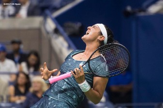 August 31, 2017, New York City, NY: Ons Jabeur reacts during a match against Coco Vandeweghe during the 2017 US Open Tennis Championships at the Billie Jean King National Tennis Center in New York, New York Thursday, August 31, 2017. (Photo by Billie Weiss/US Open Tennis Championships)