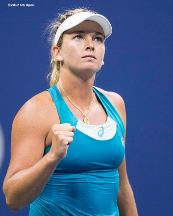 August 31, 2017, New York City, NY: Coco Vandeweghe reacts after defeating Ons Jabeur during the 2017 US Open Tennis Championships at the Billie Jean King National Tennis Center in New York, New York Thursday, August 31, 2017. (Photo by Billie Weiss/US Open Tennis Championships)