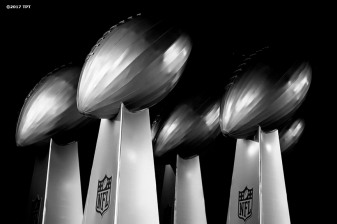 Replica trophies are shown during the opening game of the 2017 NFL season between the New England Patriots and Kansas City Chiefs at Gillette Stadium in Foxborough, Mass. on Sept. 7, 2017. (Photo by Billie Weiss/The Players' Tribune)