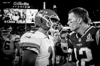Tom Brady #12 of the New England Patriots shakes hands with Alex Smith #11 of the Kansas City Chiefs following the opening game of the 2017 NFL season at Gillette Stadium in Foxborough, Mass. on Sept. 7, 2017. (Photo by Billie Weiss/The Players' Tribune)