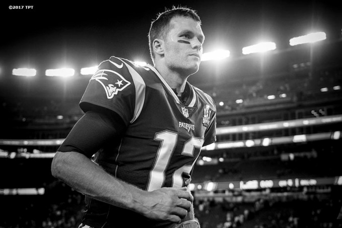 Tom Brady #12 of the New England Patriots runs off the field following the opening game of the 2017 NFL season against the Kansas City Chiefs at Gillette Stadium in Foxborough, Mass. on Sept. 7, 2017. (Photo by Billie Weiss/The Players' Tribune)