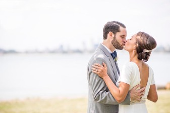 """The wedding of Lauren and Mike on Thompson Island in Boston, Massachusetts."""