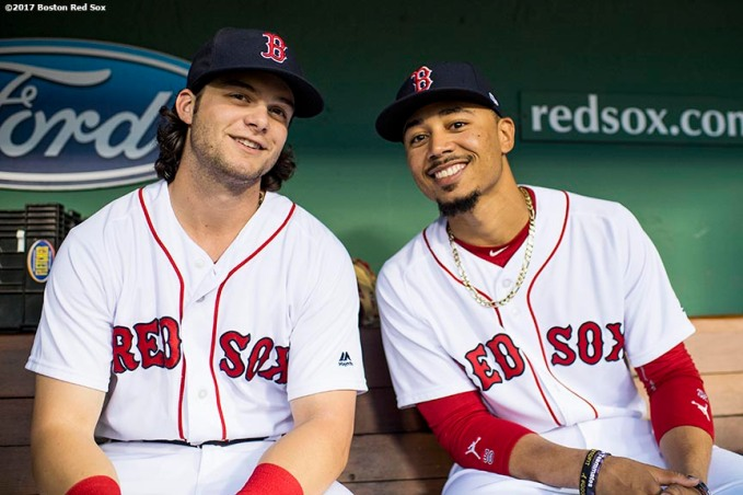 BOSTON, MA - SEPTEMBER 4: Andrew Benintendi #16 and Mookie Betts #50 of the Boston Red Sox pose for a photograph before a game against the Toronto Blue Jays on September 4, 2017 at Fenway Park in Boston, Massachusetts. (Photo by Billie Weiss/Boston Red Sox/Getty Images) *** Local Caption *** Andrew Benintendi; Mookie Betts