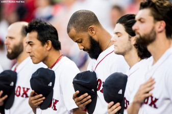 BOSTON, MA - SEPTEMBER 4: Chris Young #30 of the Boston Red Sox looks on during a moment of silence for Hurricane Harvey victims before a game against the Toronto Blue Jays on September 4, 2017 at Fenway Park in Boston, Massachusetts. (Photo by Billie Weiss/Boston Red Sox/Getty Images) *** Local Caption *** Chris Young