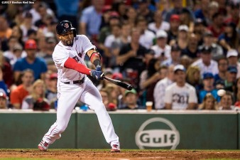BOSTON, MA - SEPTEMBER 4: Eduardo Nunez #36 of the Boston Red Sox hits an RBI single during the sixth inning of a game against the Toronto Blue Jays on September 4, 2017 at Fenway Park in Boston, Massachusetts. (Photo by Billie Weiss/Boston Red Sox/Getty Images) *** Local Caption *** Eduardo Nunez