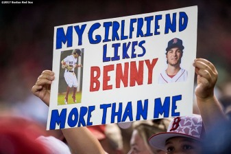 BOSTON, MA - SEPTEMBER 4: A fan holds a sign for Andrew Benintendi #16 of the Boston Red Sox during a game against the Toronto Blue Jays on September 4, 2017 at Fenway Park in Boston, Massachusetts. (Photo by Billie Weiss/Boston Red Sox/Getty Images) *** Local Caption *** Andrew Benintendi